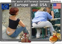 USA -- Living in the US and having traveled to Europe, I think that lost of these are pretty true. Also, pretty funny! You know it's funny because it's true! Funny Images, Funny Pictures, Crazy Pictures, Fail Pictures, Funniest Pictures, Funny Pics, Bing Images, Free Dating Sites, Humor Grafico
