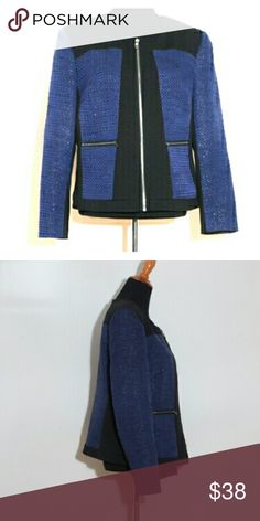 Halogen Blazer Beautiful blue shimmering fabric with black color blocking, XL Petite Halogen Jackets & Coats Blazers
