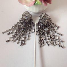 Sorelli crystal and rhinestone clip-on earrings by BlkBttrflyDsgns