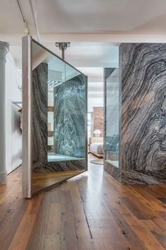 Classic New York City loft designed by Alexander Gorlin Architects. Modern Apartments, Loft Design, Architects, Marble, Industrial, York, Mirror, Luxury, City