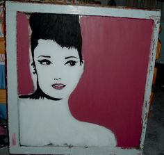 Audrey Hepburn unfinished on an antique window frame... LOVED this piece. #art