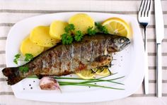 Trout on the butter - traditional food in Czechia Fish And Seafood, Trout, Steak, Food And Drink, Gluten Free, Traditional, Cooking, Butter, Cucina