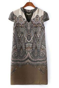 Vintage V Neck Chiffon Dress