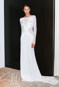 Love the boatneck, lace on top, and sleek bottom.  Brides.com: Spring 2016 Wedding Dress Trends