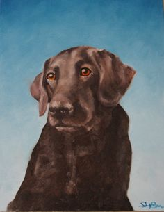 Impressionist Dog Portrait Original Oil Painting Black Lab 12 x 16. $120.00, via Etsy.