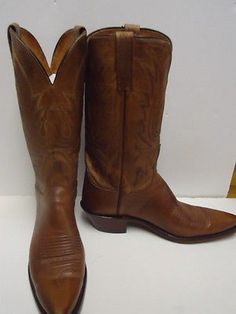 """SOLD!!  Lucchese N4540 Mad Dog Goat Calf Womens Western Cowboy Boots Sz 8 b,   Original Retail $450 Brown Pine Norwood Calf Leather, PERFECT PATINA!  Great vintage condition Amazing design with Gold n black Stitching on shaft 12"""" Shaft Leather Outsole WILL BE SHIPPED RIGHT AWAY.  $145.00 plus $10.00 shipping.  PayPal:  gymnastics11111@yahoo.com"""