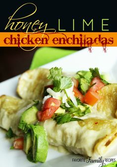 This is my new favorite way to make chicken enchiladas! They are SO delicious and cheesy! #chickenenchiladas #honeylimeenchiladas