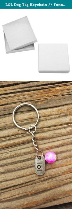 """LOL Dog Tag Keychain // Funny Keychain // Gift for Friend // Back to School / Birthday Gift // Purse Accessory // Lanyard Accessory. This adorable key chain features a large marble print purple and pink bead with a metal """"LOL"""" dog-tag charm! Attach to your key ring, purse, backpack or lanyard to add a little humor to your day!."""