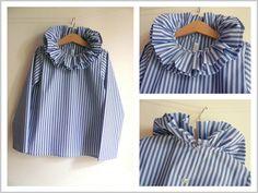 ... Guimpe à collerette double en coton de chemise rayé jean et ciel. Robes à collerette double en drap de laine marine, une collerette en...