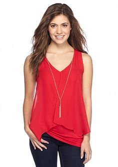A Byer Knit To Woven Tank With Necklace