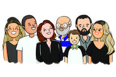 illustration cute, illustration family, custom illustration, ilustração família personalizada , presente criativo, família ilustrada Family Illustration, Business Illustration, Portrait Illustration, Drawing Cartoon Faces, Family Drawing, Couple Portraits, Drawing People, Family Gifts, Fashion Sketches