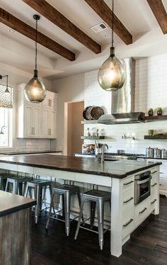 Modern-Rustic Kitchen / Houzz.com -creamy white island, dark countertops, grey wood lower cabinets and creamy white upper cabinets