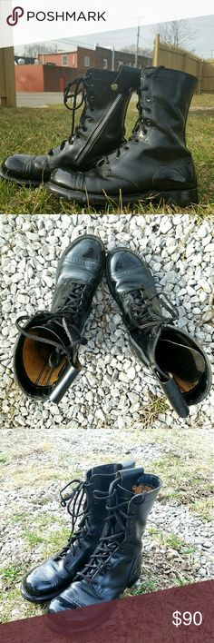 Bates Paratrooper Combat Boots Bates combat Paratrooper boots  A few minor scuffs, unnoticeable  Bottoms in near perfect condition.   Size 10.5 in men's ( fits women's size 12.5)     Tags Army leather shoes troopers grunge punk rock alternative goth hipster winter work military Bates Shoes Boots