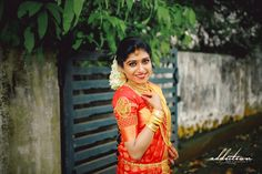 Bride In Red Saree Traditional Hindu Wedding # SouthIndianBride Kerala Wedding Photography, Red Saree, Bridal Shoot, Wedding Story, Bridal Accessories, Traditional, Bride, Portrait, Pretty