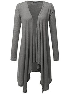 JayJay Women Draped Open Front Hem Long Sleeve Lightweight CardiganGRAY2XL