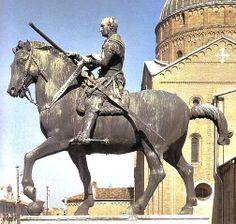 """Equestrian Monument of Gattamelata by Donatello (Italian Sculptor,1386-1486) ~1445-1450 ~ Bronze ~ Piazza del Santo, Padua, Italy ~ It portrays the Renaissance condottiero Erasmo da Narni, known as """"Gattamelata"""", who served mostly under the Republic of Venice, which ruled Padua at the time."""