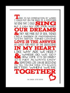 Jack Johnson Better Together Typography art print music song lyric 12x18 a3 | eBay