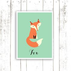 Fox+Art+Print++Mint+Nursery+Wall+Art++by+MooseberryPrintShop,+$18.00