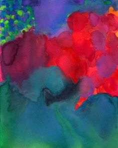 Courage, Art Print of Original Watercolor, Abstract Painting color circles lime green teal violet blue red orange hot pink. #PinIntoSummer $18.00, via Etsy.