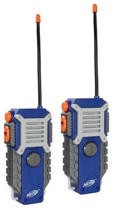 NERF Walkie Talkie for Kids Fun at The Touch of a Button, Set of 1000 feet Range by Sakar, Rugged Pair Battery Powered Gray Blue & Orange - Toys