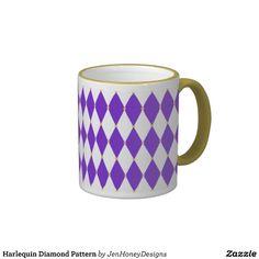Harlequin Diamond Pattern Coffee Mugs for Mardi Gras