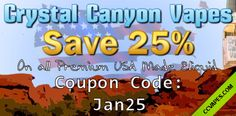 Winter savings from Crystal Canyon Vapes! Save 25% off all #eliquid using coupon code: jan25  Try our newest flavors Temptation: Apple Pie and Euphoria: Strawberry Shortcake  http://www.ccvapes.com