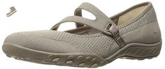 Skechers Sport Women's Breathe Easy Lucky Lady Mary Jane Flat, Taupe Knit Mesh/Light Taupe Trim, 7 M US - Skechers flats for women (*Amazon Partner-Link)