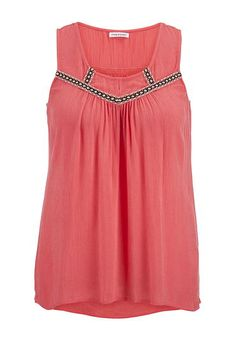 gauze embroidered plus size tunic tank with keyhole (original price, $34) available at #Maurices