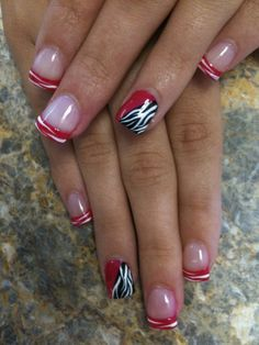 Red Zebra Nails love this but i would do it with pink instead of red :-)