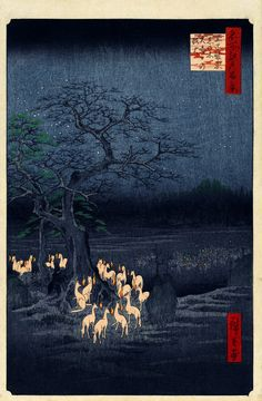 New Year's Eve Foxfires at the Changing Tree, Oji. Ukiyo-e print shows foxes gathered around a tree, breathing fire . Color woodcut by Andō Hiroshige. No. 118 in the series Meisho Yedo Hiakkei (One Hundred Famous Views of Edo), 1857.