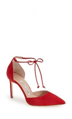 6e4aebabec97 Manolo Blahnik Ankle Tie d Orsay Pump Red Suede  womenstyle  highheels   musthave