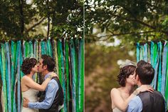 first kiss, colorful ribbons, wedding details