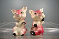 Vintage Ceramic Salt Pepper Shakers Set Cute Pink Pigs Japan   eBay