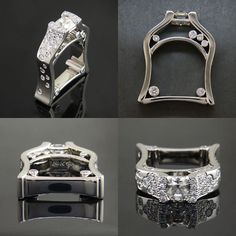 Custom white gold asymmetrical engagement ring with bezel and flush set diamonds throughout  — at Green Lake Jewelry Works