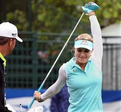 Lexi Thompson stretches on the first tee during a pro-am for the Shoprite Classic golf tournament in Galloway, N.J., , Thursday, May 29, 2013. (AP Photo/The Press of Atlantic City, Michael Ein) MANDATORY CREDIT ▼29May2014AP|Lydia Ko trying to pace herself on tour http://bigstory.ap.org/article/lydia-ko-trying-pace-herself-tour #Lexi_Thompson