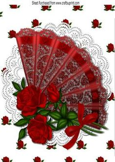 Pretty lace fan with red roses and bow A4 on Craftsuprint - Add To Basket!