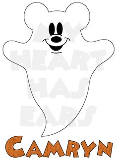Printable DIY Mickey Mouse ghost Halloween digital clip art iron on transfer for t-shirts by My Heart Has Ears