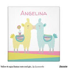 Yellow & aqua llamas cute cool girly trendy school 3 ring binder
