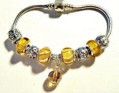 European beads Bracelet gold charms PB456 by CookalasHouseOfCards, $8.99