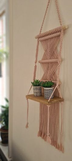 Macrame Wall Hanging Shelf, Macrame shelf pattern, 100% blossom pink Cotton Cord,Macrame wooden shelf for any room, UK Seller, Free delivery Wall Hanging Shelves, Large Macrame Wall Hanging, Wooden Shelves, Handmade Shop, Handmade Items, Handmade Gifts, Handmade Christmas Decorations, Etsy Business, Handmade Accessories