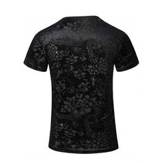 New Style V-Neck Floral Print PU Leather Spliced Short Sleeves T-Shirt For Men #shoes, #jewelry, #women, #men, #hats, #watches, #belts