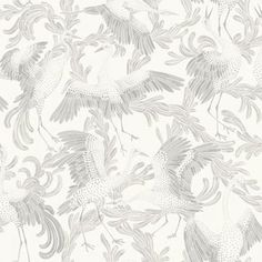 Dancing Cranes by Engblad & Co - Light Grey : Wallpaper Direct Botanical Wallpaper, Grey Wallpaper, Home Wallpaper, Victorian House Interiors, Crane Bird, Illustrations, Designer Wallpaper, Wall Colors, Textured Background