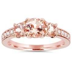 1.50Ct Morganite & Natural Diamond 3 Stone Ring 14K Rose Gold