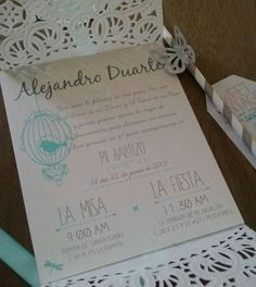 Decorando invitaciones First Communion Invitations, Christening Invitations, Baby Baptism, Baptism Party, Invitation Cards, Party Invitations, Fiesta Party, Baby Shower Parties, Wedding Cards