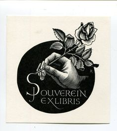 Bookplate by Pam Rueter for J Souverin, ???? : OP 470
