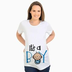 European American Plus Size Funny Maternity Shirts Baby boy Printed T-Shirt  Casual Clothes Summer Women Pregnant Tops c75422423eca