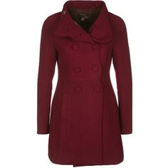 Fever London TOPSHAM Classic coat port ($140) ❤ liked on Polyvore featuring outerwear, coats, jackets, coats & jackets, casacos, red, red coat and short coat
