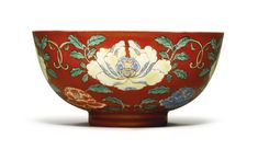 A rare coral-ground famille-verte bowl Yongzheng mark and period from Alfred Beit Foundation | Sotheby's
