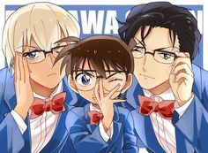 Amuro and Akai look adorable, sporting Conan Edogawa's classic look!