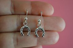 925 Sterling Silver Horseshoes Dangle Earrings - Horseshoes Dangle Earrings